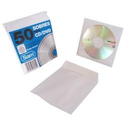 Sam - PAQUETE 50 SOBRES PARA CD / DVDS. BLANCO 90 GRS. VENTANA PLASTIC0 108 DIAMETRO 125X125 ENGOMADO AUTOADHESIVO SAM 664897