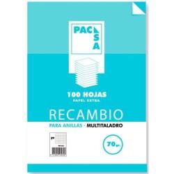 Pacsa - RECAMBIO 70 GRS. MULTITALADRO FOLIO (215X310MM.) 100 CUADRÍCULA 4X4 CON MARGEN PACSA 21221