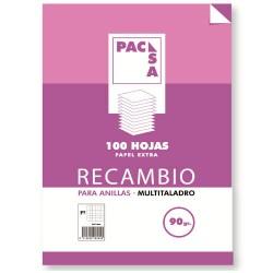 Pacsa - RECAMBIO 90 GRS. MULTITALADRO FOLIO (215X310MM.) 100 HOJAS CUADRÍCULA 4X4 CON MARGEN PACSA 21271