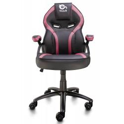 TALIUS - Silla Cobra gaming negra/rosa, brazos fijos, butterfly, base metal, ruedas 60mm nylon, gas cl