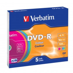 Verbatim - DVD-R Colour 4.7GB DVD-R 5pieza(s)