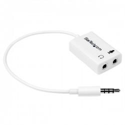 StarTech.com - Adaptador de Auriculares con Micrófono Mini-Jack 3,5mm 4 pines a Conectores de Auriculares y de Micr