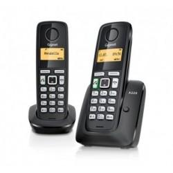 Gigaset - A220 DUO Teléfono DECT Negro Identificador de llamadas