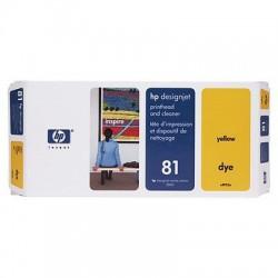HP - Limpiador de cabezales de impresión y cabezal de impresión colorante 81 DesignJet amarillo