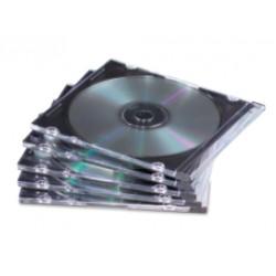 Fellowes - 9833801 Caja transparente para CD 1discos Negro, Transparente funda para discos ópticos