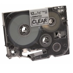 Brother - Black on Clear Gloss Laminated Tape, 12mm cinta para impresora de etiquetas TZ