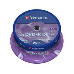 Verbatim - DVD+R Double Layer 8x Matt Silver 25pk Spindle 8,5 GB DVD+R DL 25 pieza(s)