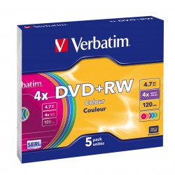 Verbatim - DVD+RW Colours 4.7GB DVD+RW 5pieza(s)