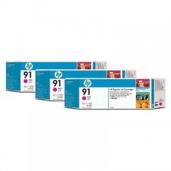 HP - Pack de ahorro de 3 cartuchos de tinta 91 magenta de 775 ml