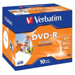 Verbatim - DVD-R Wide Inkjet Printable ID Brand 4.7GB DVD-R 10pieza(s)