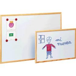 FAIBO - Pizarra Metalica Blanca Magnética con marco de madera 60x90cm