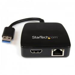 StarTech.com - Replicador de Puertos de Viajes para Portátiles - HDMI y GbE - USB 3.0