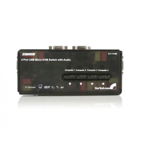 StarTech.com - Juego de Conmutador Switch KVM 4 Puertos Vídeo VGA USB 2.0 con Cables y Audio