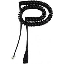 Jabra - QD cord, coiled, mod plug RJ9 Negro
