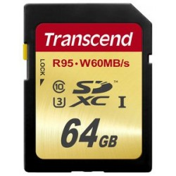 Transcend - 64GB, SDXC UHS-I (U3) 64GB SDXC UHS Clase 10 memoria flash