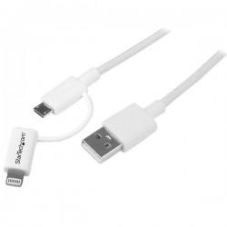 StarTech.com - Cable Adaptador de 1m Apple Lightning o Micro USB a USB - Blanco