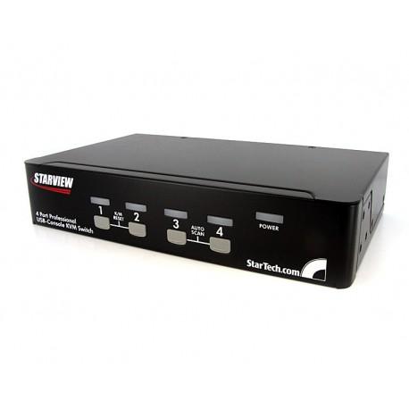 StarTech.com - Conmutador Switch KVM 4 Puertos de Vídeo VGA USB 2.0 - 1U Rack Estante