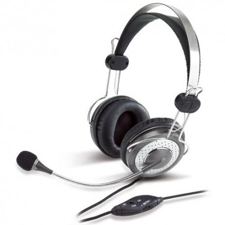 Genius - HS-04SU Binaural Diadema Plata auricular con micrófono