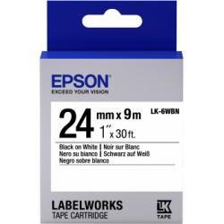 Epson - Cinta estándar - LK-6WBN estándar negra/blanca 24/9