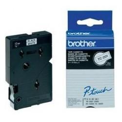 Brother - TC-201 cinta para impresora de etiquetas Negro sobre blanco
