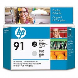 HP - Cabezal de impresión 91 negro fotográfico y gris claro