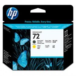HP - Cabezal de impresión DesignJet 72 negro mate y amarillo