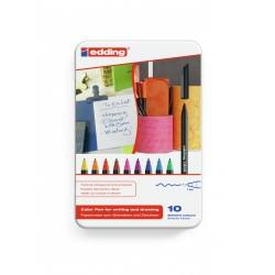 Edding - 1200 colourpen Fino Negro, Azul, Marrón, Verde, Naranja, Rosa, Púrpura, Rojo, Amarillo 10pieza(s) rotulado