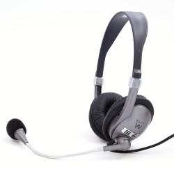 Ewent - EW3561 Binaural Diadema Negro, Gris auricular con micrófono