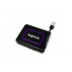 Approx - appCRDNIB lector de tarjeta Negro, Púrpura USB 2.0