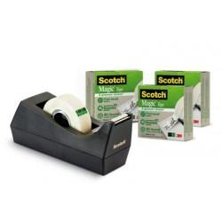 Scotch - 9C38R3 33m Negro, Transparente 3pieza(s) cinta adhesiva de papelería y oficina