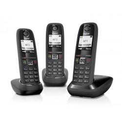 Gigaset - AS405 Trio Teléfono DECT Negro Identificador de llamadas