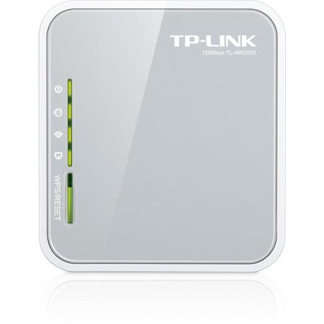 TP-LINK - TL-MR3020 Banda única (2,4 GHz) Ethernet rápido 3G 4G Gris, Color blanco router inalámbrico