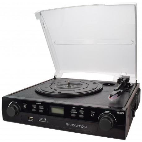 Brigmton - BTC-406REC Tocadiscos de tracción por correa Negro tocadisco