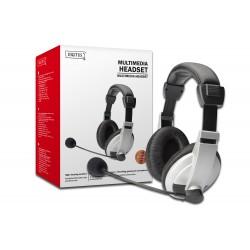 Digitus - DA-12201 auricular con micrófono Binaural Diadema Negro, Blanco