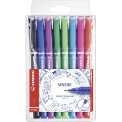 Stabilo - SENSOR Negro, Azul, Verde, Lila, Rosa, Rojo, Turquesa 8pieza(s) pluma estiligráfica