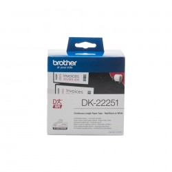 Brother - DK-22251 cinta para impresora de etiquetas Negro y rojo sobre blanco