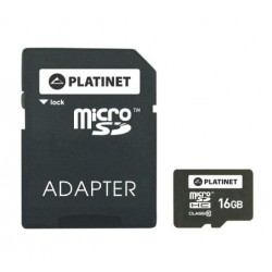Platinet - 16GB MicroSDHC + Adapter SD memoria flash Clase 10