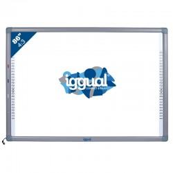 """iggual - IGG314371 86"""" Pantalla táctil USB Gris, Color blanco pizarra y accesorios interactivos"""