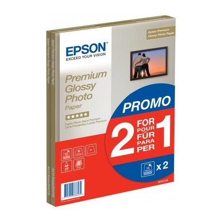 Epson - Premium Glossy Photo Paper - 2 for 1), DIN A4, 255g/m², 30 Sheets