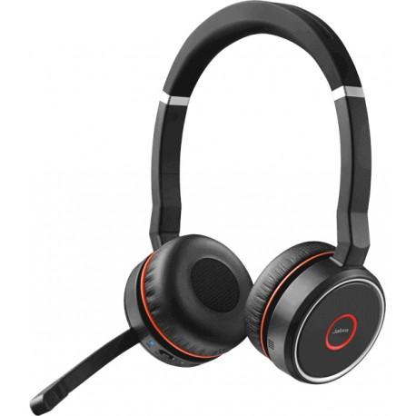 Jabra - Evolve 75 MS Stereo Binaurale Diadema Negro Rojo auricular con micrfono