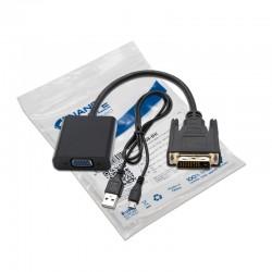 Nanocable - Conversor DVI 24+1/m A VGA HDB15/h, Negro, 10 cm