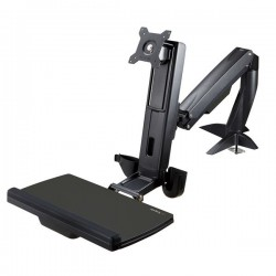 StarTech.com - Brazo de Soporte de Pie y Sentado Ajustable VESA para Monitores de hasta 24 Pulgadas con Soporte para Teclado y R