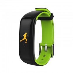 "Brigmton - BSPORT-15 Wristband activity tracker 0.96"" OLED Inalámbrico IP67 Negro, Verde"