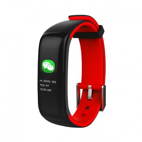 "Brigmton - BSPORT-15 Wristband activity tracker 0.96"" OLED Inalámbrico IP67 Negro, Rojo"