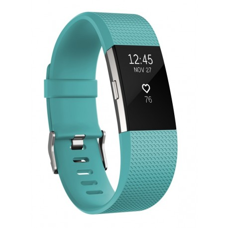 Fitbit - Charge 2 Wristband activity tracker OLED Inalámbrico Negro, Azul - 22233556