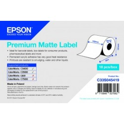 Epson - Premium Matte Label - Continuous Roll: 105mm x 35m