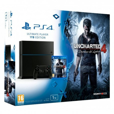 Sony - 1TB, Playstation 4 + Uncharted 4: A Thief's End 1000GB Wifi