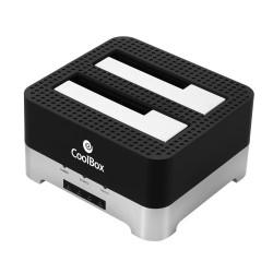 CoolBox - DuplicatorDock 2 USB 3.2 Gen 1 (3.1 Gen 1) Type-B Negro, Plata