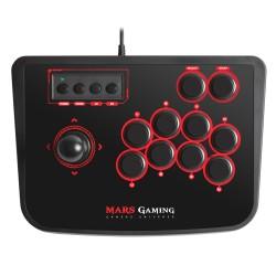 Mars Gaming - MRA Fightstick PC, Playstation 2, Playstation 3 Negro, Rojo mando y volante