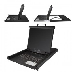 StarTech.com - Consola para Armario Rack con KVM de 8 Puertos VGA y Pantalla LCD de 19 Pulgadas - 1U